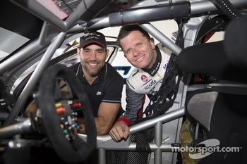Melbourne Storm captain Cameron Smith with HRT drivers Garth Tander