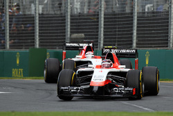 Max Chilton, Marussia F1 Team MR03 leads Jules Bianchi, Marussia F1 Team MR03