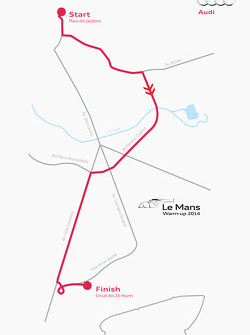 The route Tom Kristensen will take to drive the Audi R18 e-tron quattro from downtown Le Mans to the 24 Hours circuit