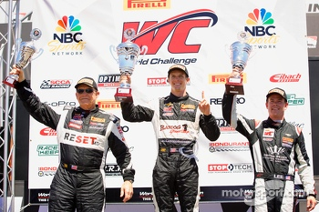 GTS podium: winner Lawson Aschenbach, second place Jack Baldwin, third place Andy Lee