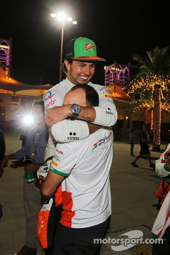 Sergio Perez, Sahara Force India F1 celebrates his third position with Gianpiero Lambiase, Sahara Force India F1 Engineer