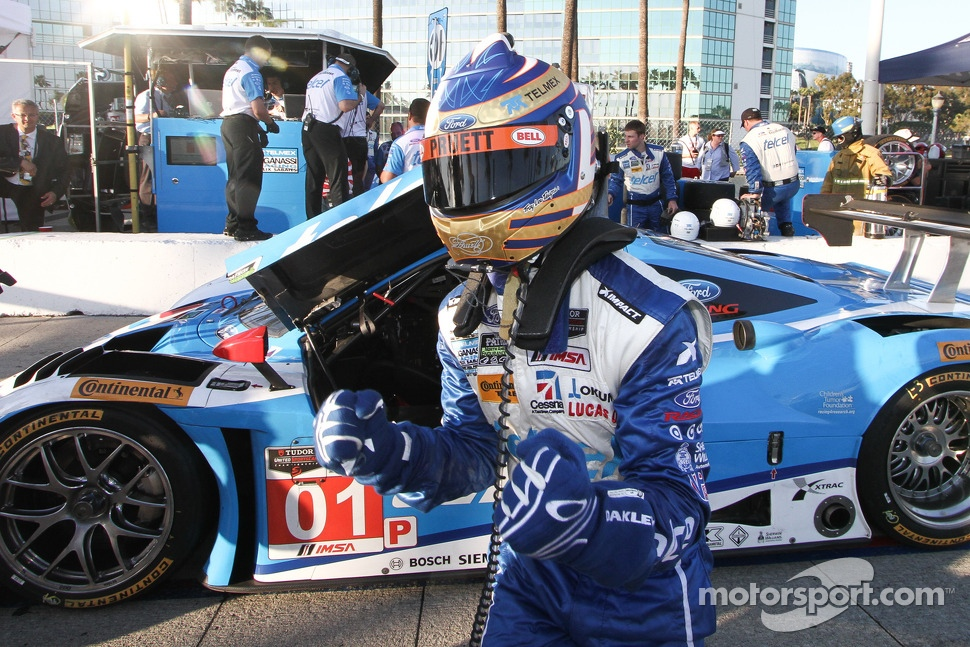 Scott Pruett Celebrates pole