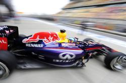 Sebastian Vettel, Red Bull Racing RB10 leaves the pits