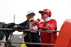 Valtteri Bottas, Williams and Kimi Raikkonen, Ferrari on the drivers parade.