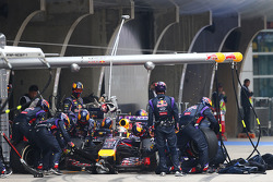 Sebastian Vettel, Red Bull Racing RB10 makes a pit stop