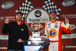 Dale Earnhardt Jr. and race winner Kevin Harvick
