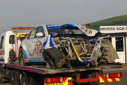 The wreck of Ollie Jackson's STP Racing with Sopp + Sopp Proton