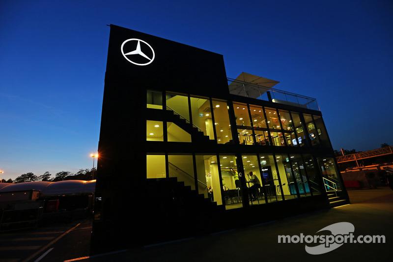 Mercedes Amg F1 Motorhome At Night At Spanish Gp