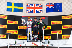 Podium: race winner Alex Lynn, second place Jimmy Eriksson, third place Richie Stanaway