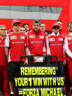 (L to R): Kimi Raikkonen, Ferrari, Marco Mattiacci, Ferrari Team Principal, Fernando Alonso, Ferrari and the Ferrari team remember the 1996 Spanish GP at Barcelona, where Michael Schumacher, won his first GP with Ferrari