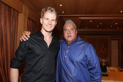 (L to R): Nico Hulkenberg, Sahara Force India F1 with Dr. Vijay Mallya, Sahara Force India F1 Team Owner at the Signature Monaco Party on the Indian Empress Boat
