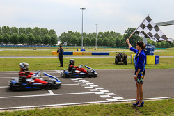Media/drivers karting race: checkered flag