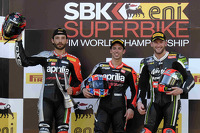 Race 2 podium: winner Marco Melandri, second place Sylvain Guintoli, third place Tom Sykes