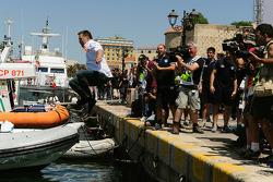 Jost Caputo dives into the harbour