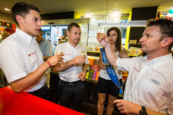 Hand imprint ceremony: 2013 24 Hours of Le Mans winners Loic Duval, Tom Kristensen and Allan McNish with Miss 24 Hours