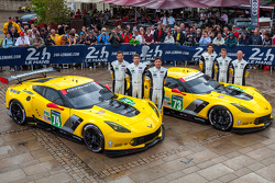 #73 Corvette Racing Chevrolet Corvette C7: Jan Magnussen, Antonio Garcia, Jordan Taylor; #74 Corvette Racing Chevrolet Corvette C7: Oliver Gavin, Tom Milner, Richard Westbrook