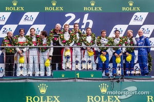 LMP2 podium: class winners Simon Dolan, Harry Tincknell, Oliver Turvey, second place Pierre Thiriet, Ludovic Badey, Tristan Gommendy, third place Paul-Loup Chatin, Nelson Panciatici, Oliver Webb