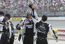 Jimmie Johnson's crew celebrates the victory