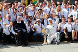 Third placed Valtteri Bottas, Williams celebrates his first podium finish with the team