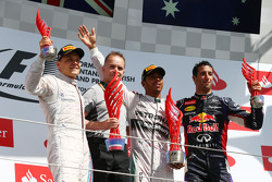 1st place Lewis Hamilton, Mercedes AMG F1 2nd place Valtteri Bottas, Williams FW36 and 3rd place Daniel Ricciardo, Red Bull Racing