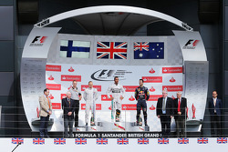 The podium, Mercedes AMG F1, second; Lewis Hamilton, Mercedes AMG F1, race winner; Daniel Ricciardo, Red Bull Racing, third; Valtteri Bottas