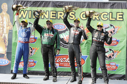 Winners Antron Brown, Erica Enders, Andrew Hines and Troy Coughlin