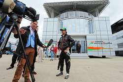 Sergio Perez, Sahara Force India F1 with Craig Slater, Sky F1 Reporter