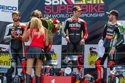 Race 1 podium: Marco Melandri, Sylvain Guintoli, Tom Sykes