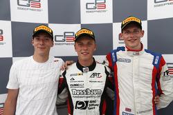 Race winner Marvin Kirchhofer, second place Alex Lynn, third place Emil Bernstorff