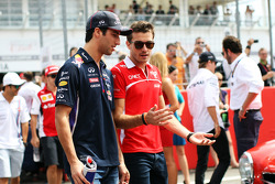 (L to R): Daniel Ricciardo, Red Bull Racing with Jules Bianchi, Marussia F1 Team on the drivers parade
