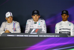F1: The post race FIA Press Conference: second place Valtteri Bottas, Williams, race winner Nico Rosberg, Mercedes AMG F1, third place Lewis Hamilton, Mercedes AMG F1