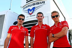 Jules Bianchi, Marussia F1 Team with Alexander Rossi, Marussia F1 Team Reserve Driver and Max Chilton, Marussia F1 Team