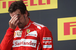 F1: Second placed Fernando Alonso, Ferrari on the podium