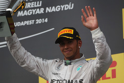 F1: Lewis Hamilton, Mercedes AMG F1 celebrates his third position on the podium