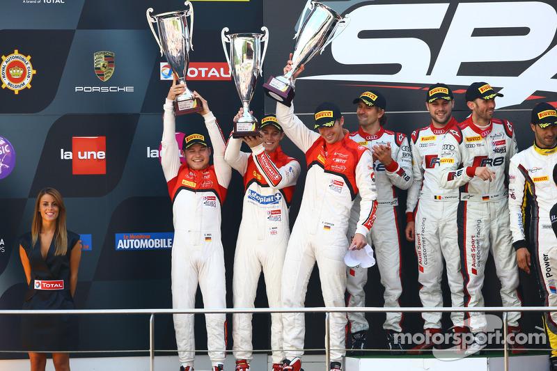 #3 Belgian Audi Club Team WRT Audi R8 LMS ultra: Christopher Mies, James Nash, Frank Stippler and #1 Belgian Audi Club Team WRT Audi R8 LMS ultra: René Rast, Laurens Vanthoor, Markus Winkelhock