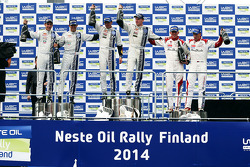 Podium: winners Jari-Matti Latvala and Miikka Anttila, second place Sébastien Ogier and Julien Ingrassia, third place Kris Meeke and Paul Nagle