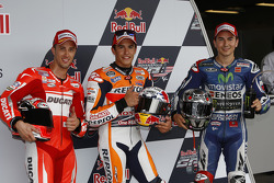 Polesitter Marc Marquez, second place Andrea Dovizioso, third place Jorge Lorenzo