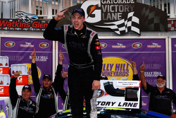Race winner Scott Heckert celebrates