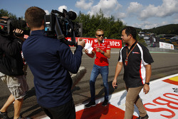 Max Chilton, Marussia F1 Team walks the circuit with Ted Kravitz, Sky Sports Pitlane Reporter