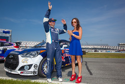 #67 Hyundai / Rhys Millen Racing Hyundai Veloster: Rhys Millen with the Red Bull girl