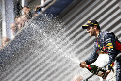 Race winner Daniel Ricciardo, Red Bull Racing celebrates on the podium