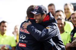 Race winner Daniel Ricciardo, Red Bull Racing celebrates with Christian Horner, Red Bull Racing Team Principal and the team