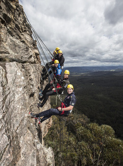 Craig Lowndes, Mark Winterbottom, Scott McLaughlin, Tim Slade, Nick Percat and David Reynolds at the Blue Mountains west of Sydney