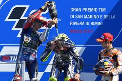 Podium: race winner Valentino Rossi, second place Jorge Lorenzo, third place Dani Pedrosa