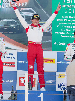 Podium: race winner Lance Stroll