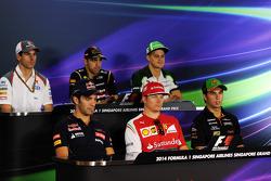 The FIA Press Conference: Adrian Sutil, Sauber; Pastor Maldonado, Lotus F1 Team; Marcus Ericsson, Caterham; Jean-Eric Vergne, Scuderia Toro Rosso; Kimi Raikkonen, Ferrari; Sergio Perez, Sahara Force India F1