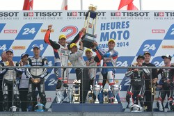 Podium: race winners Vincent Philippe, Anthony Delhalle, Erwan Nigon, second place David Checa, Kenny Foray, Mathieu Gines, third place Broc Parkes, Michael Laverty, Sheridan Morais