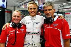 Johnny Herbert, Sky Sports F1 Presenter with Max Chilton, Marussia F1 Team and Damon Hill, Sky Sports Presenter
