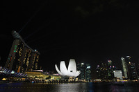 Scenic Singapore skyline at night