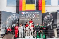 Pro Cup podium: race winners Cesar Ramos, Laurens Vanthoor, Christopher Mies, second place Maximilian Buhk, Sergei Afanasiev, Stef Dusseldorp, third place Hubert Haupt, Abdulaziz Al Faisal, Andreas Simonsen
